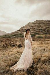 Low back boho wedding dress at Masako Formals