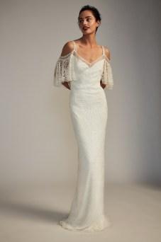 Boho off the shoulder dotted lace wedding dress by Tadashi Shoji