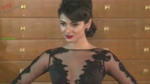 Sonal Chauhan in Transparent Laced Dress At Filmfare Awards 2013[19-26-57]