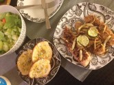 Crusted tilapia with candied ginger and lime, cheddar basil toast, and green salad. #gourmethomemade