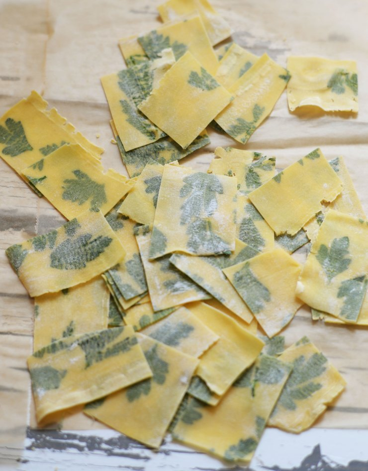 cut-pasta-dough-laminated-with-parsley