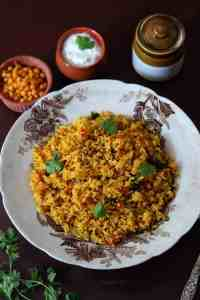 South Indian Tomato Rice / Thakkali Sadam