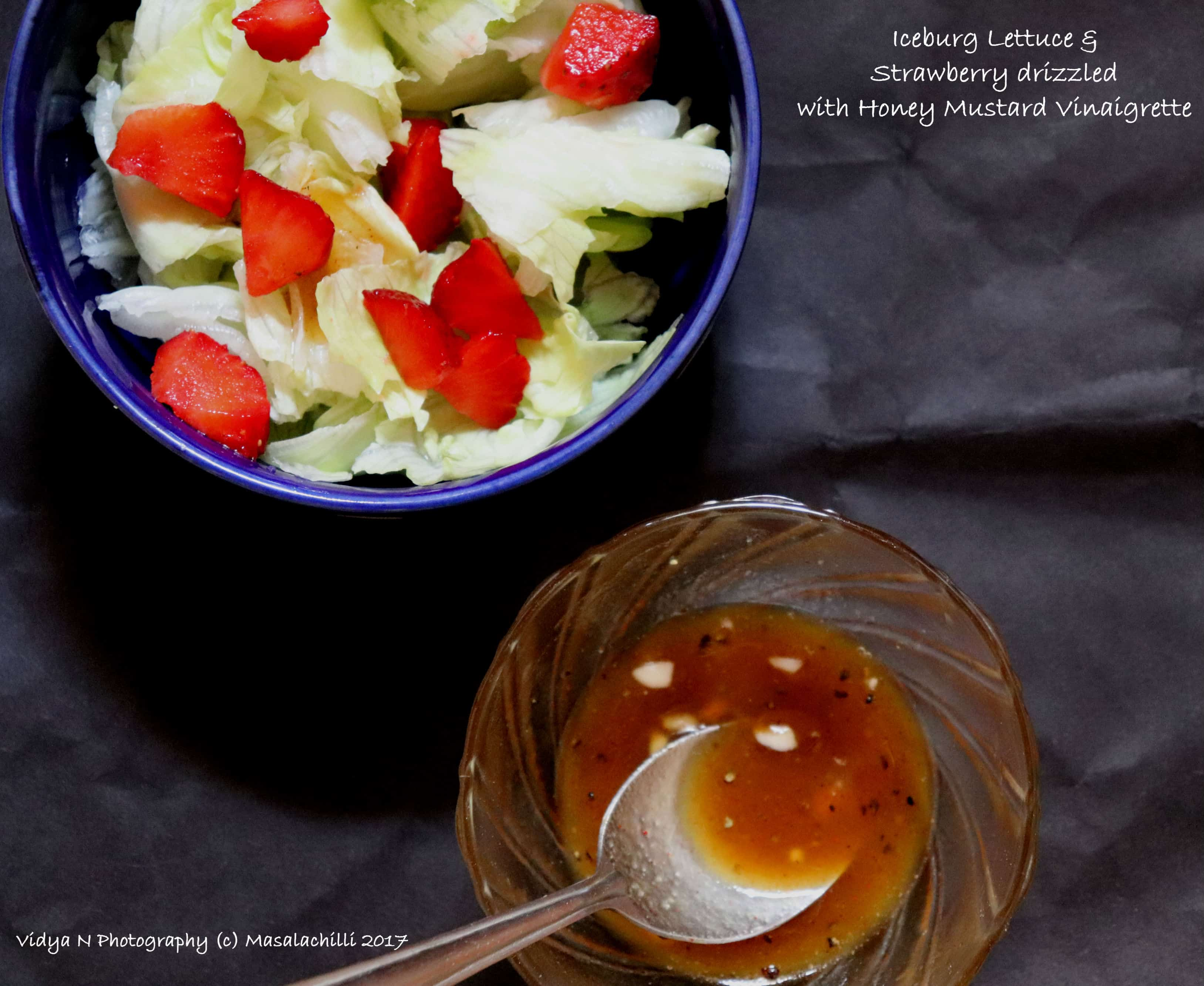 Iceberg Lettuce and Strawberry Salad with Home Made Honey Mustard Vinaigrette