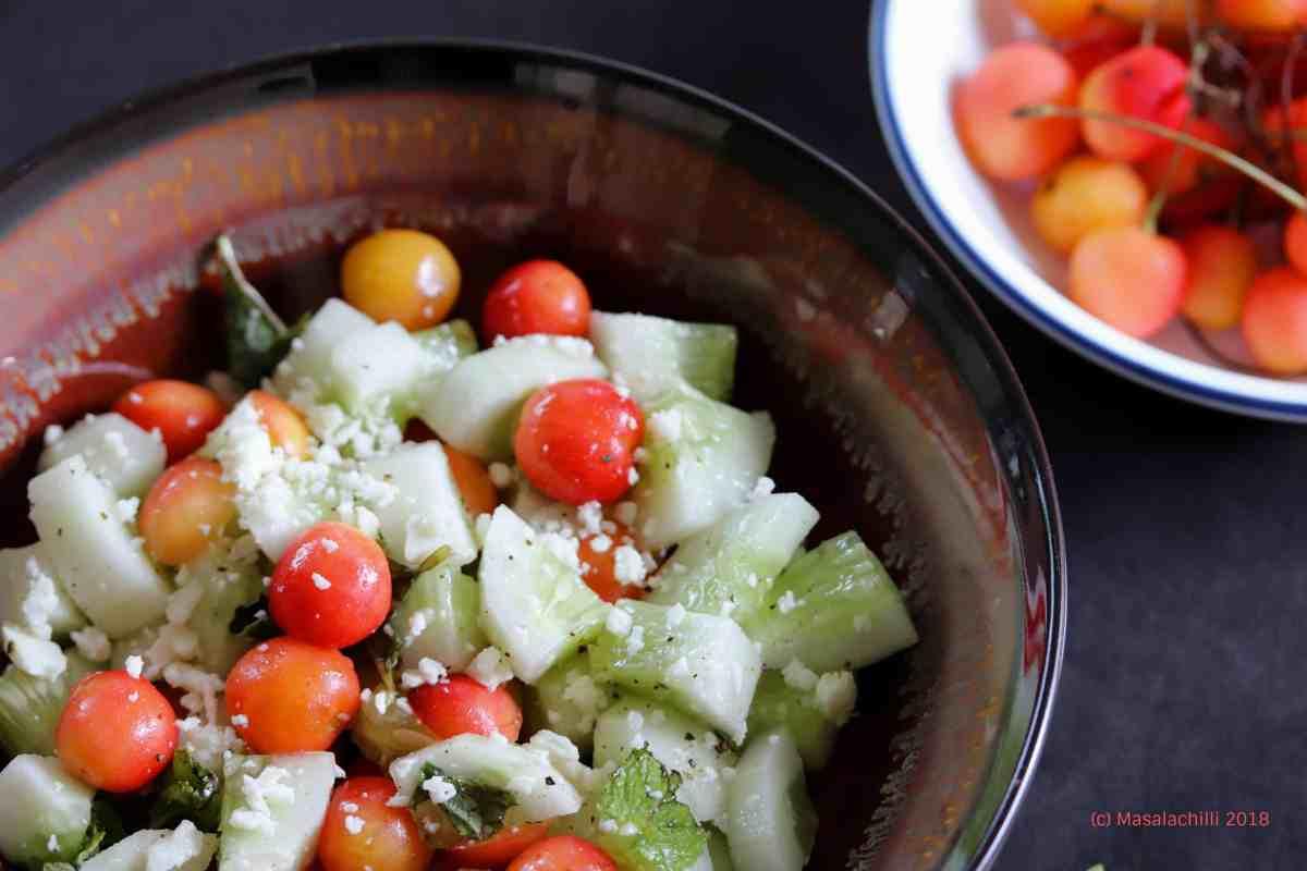 Cherry Cucumber and feta salad 2