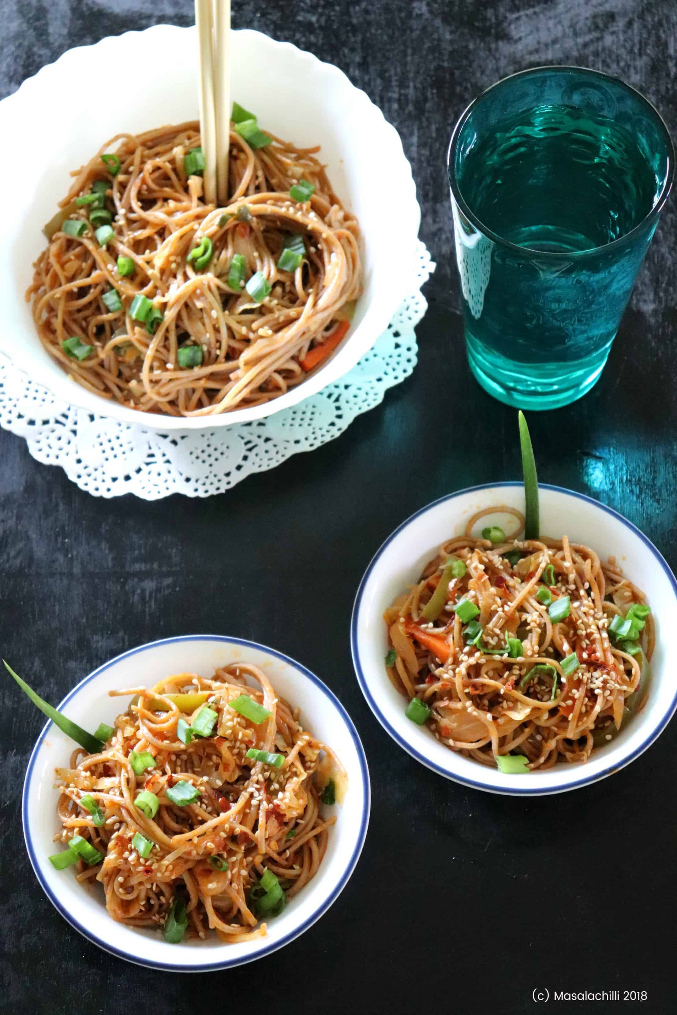 Spicy Vegetable Hakka Noodles