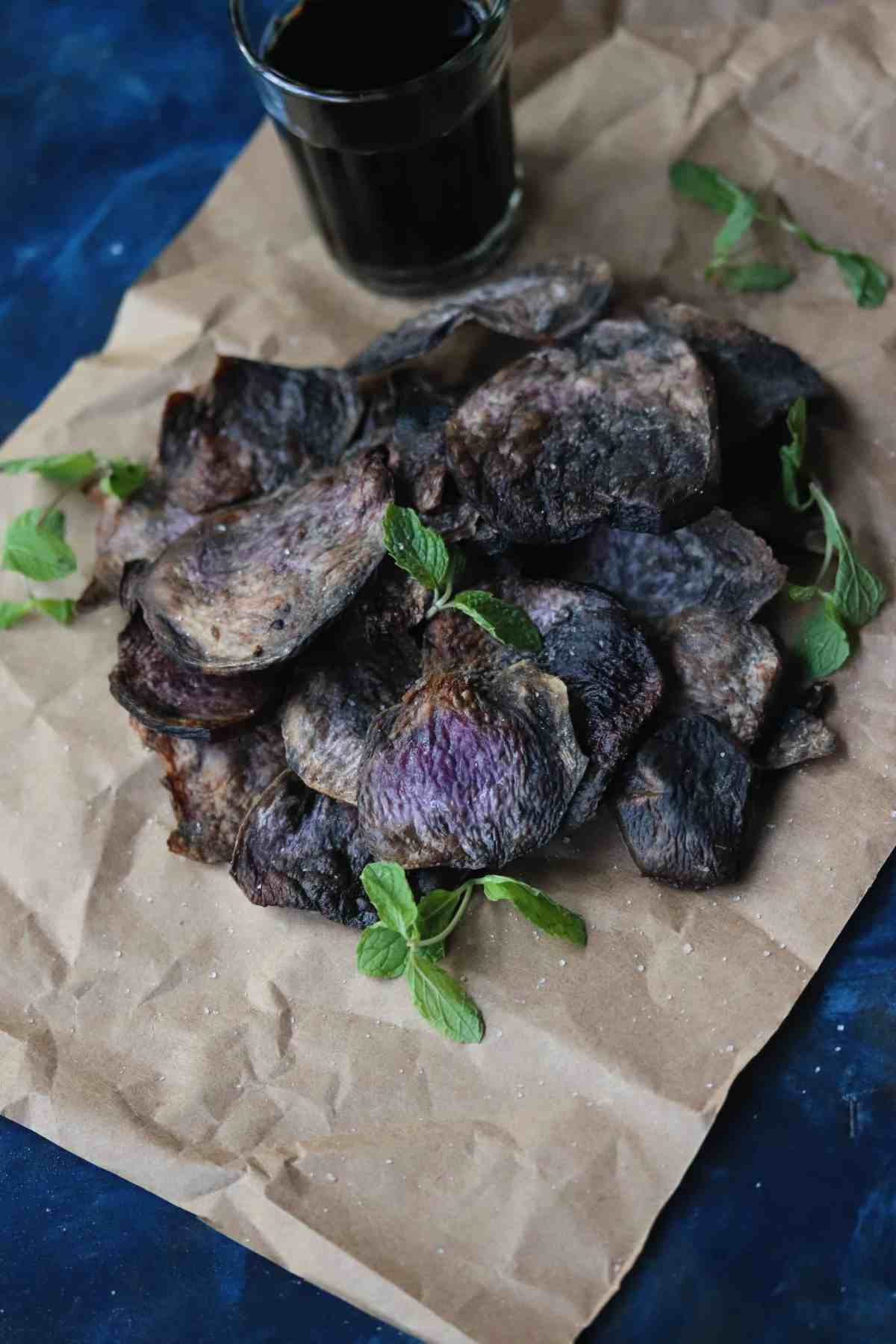Air Fryer Purple Yam Chips