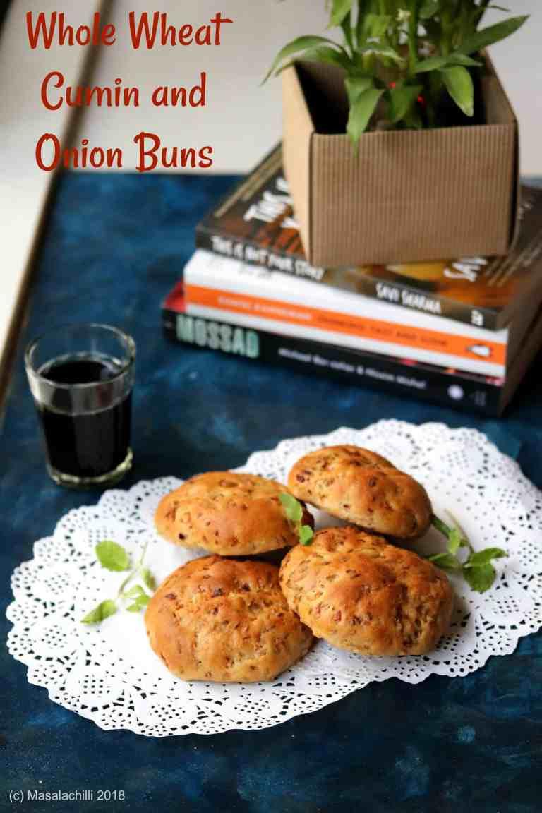 Whole Wheat Cumin and Onion Buns