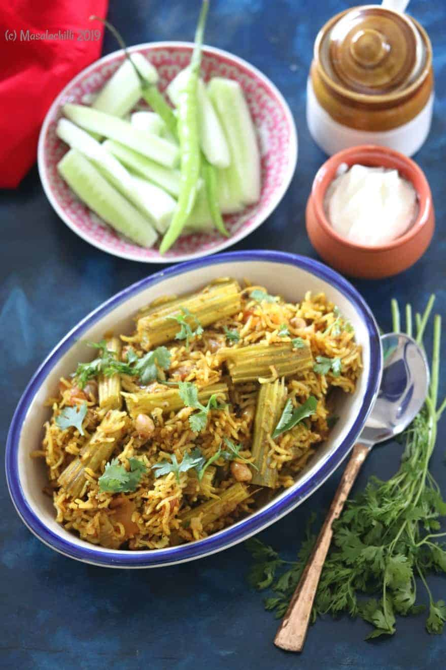 Shenga Masale Bhat (Maharashtrian Drumstick Masala Rice)