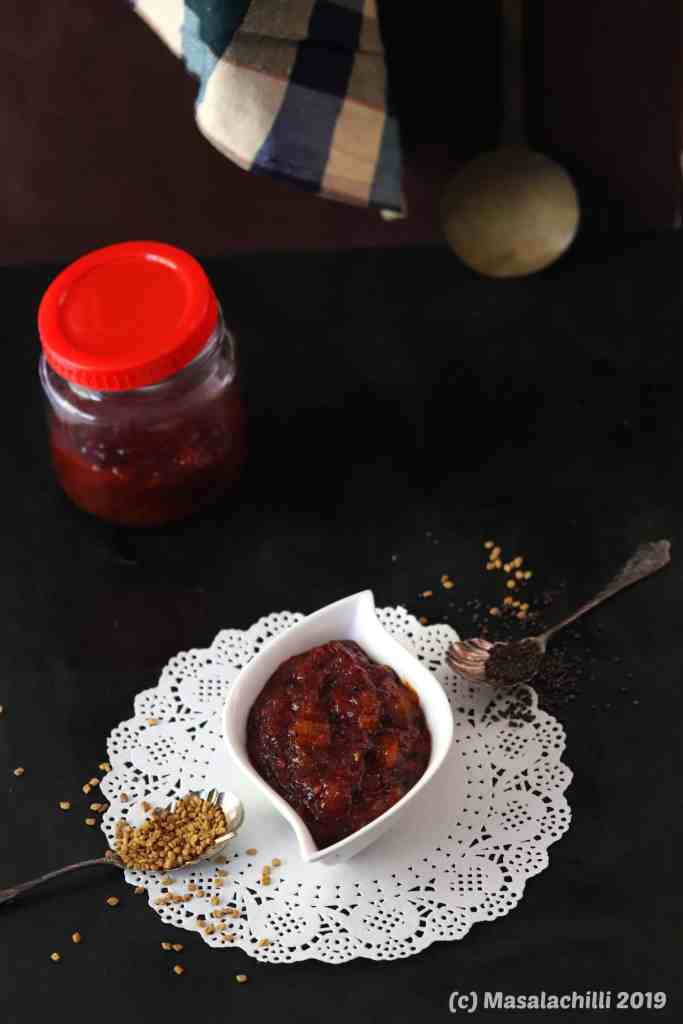 Instant Raw Mango Pickle with Jaggery and Methi seeds
