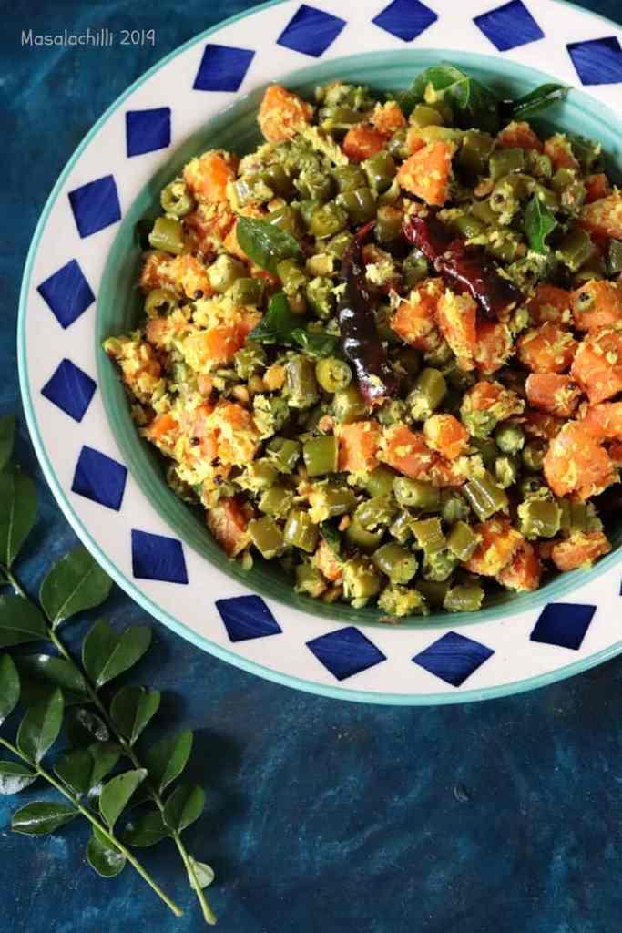 Beans Carrot Thoran - Gluten free vegan stir fry veg
