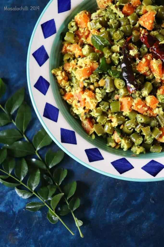 Beans Carrot Thoran for Onam Sadya