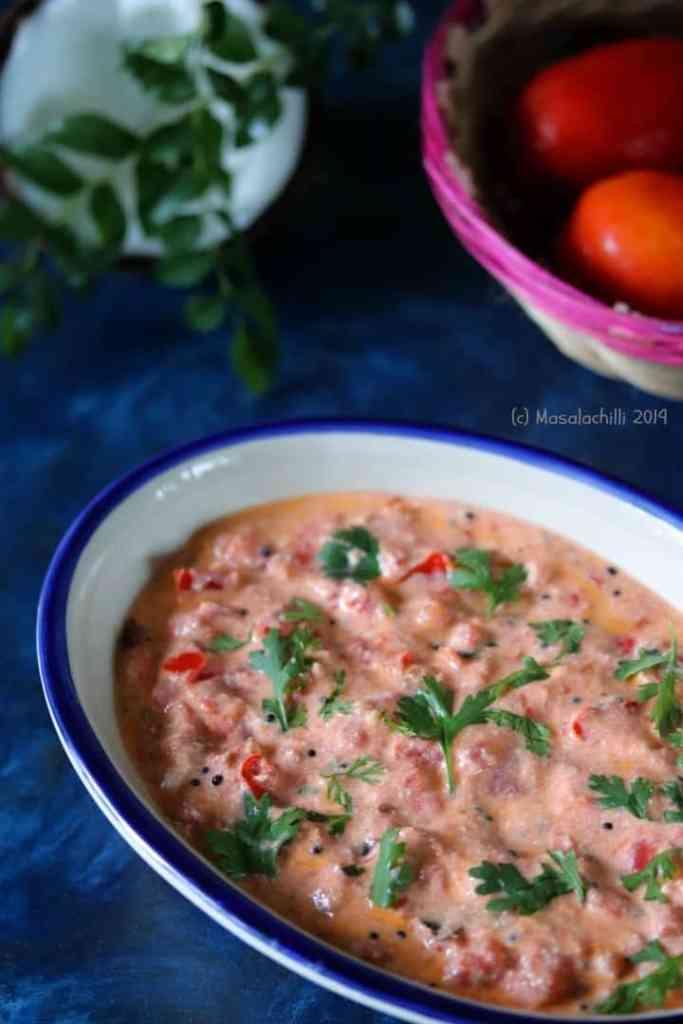 Easy Tomato Thayir Pachadi Recipe