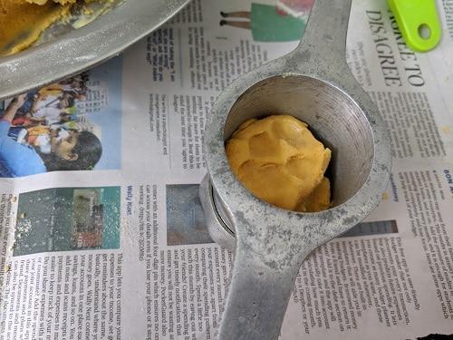 ribbon pakoda Dough is ready for hot oil