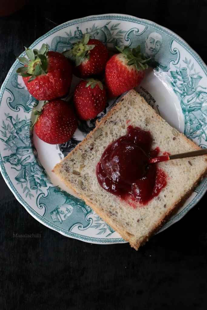 Strawberry Jam on a slice of home made bread