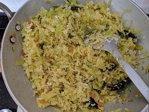 Cabbage Poriyal is ready to serve with chapati and sambar rice
