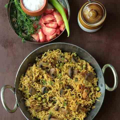 Mushroom Rice Recipe Indian