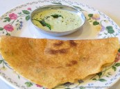 Adai served with Coconut Chutney