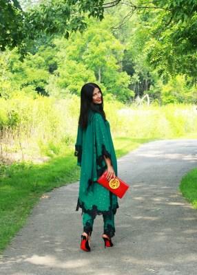 Woman wearing green suit