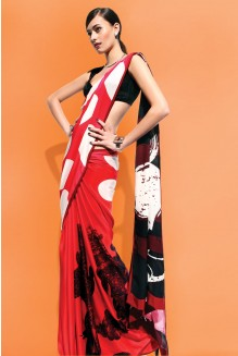 red minnie saree