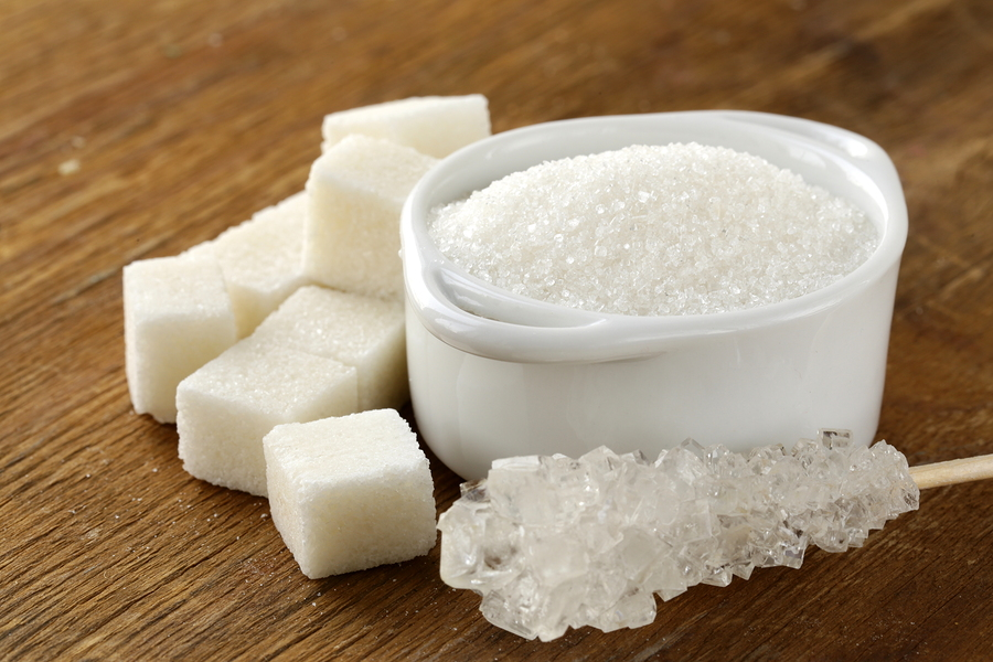 Several types of white sugar – refined sugar and granulated suga
