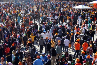 TORONTO CANADA - APRIL 29: Sikhs gathered for Khalsa day parade. Each year in Toronto sikhs gather at the Exhibition Place and then in a huge parade walk to Toronto City Hall to celebrate Khalsa day. April 29 2012 - Toronto Ontario Canada.