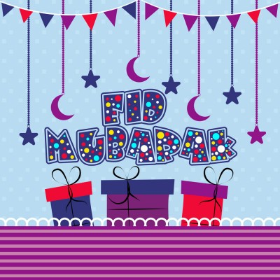 Creative Text Eid Mubarak with colourful gifts on moons and star