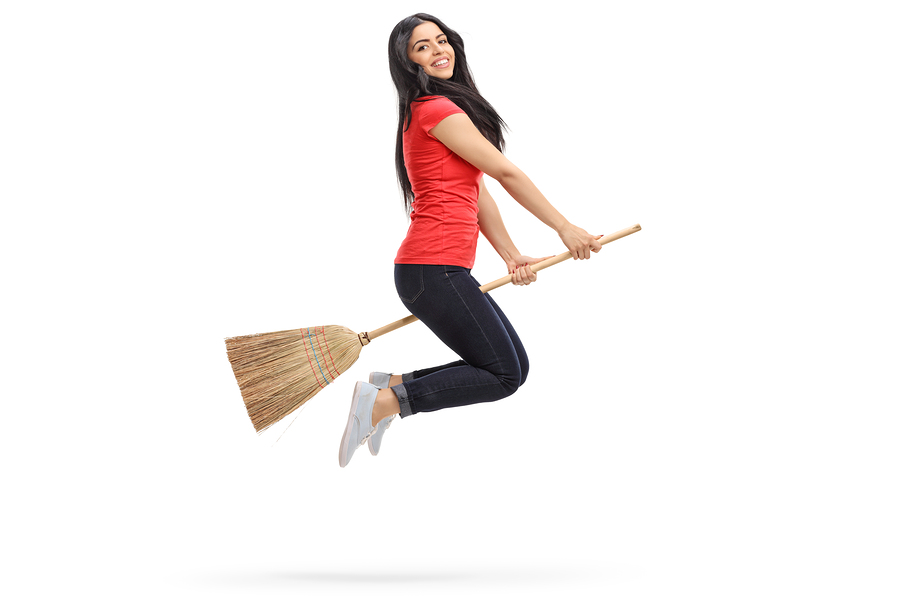 cleaning broom woman