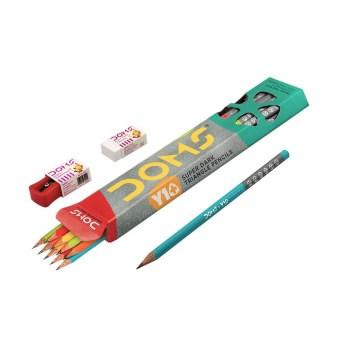 – 10 Extra Dark Pencils – 1 Sharpener – 1 Dust Free Eraser