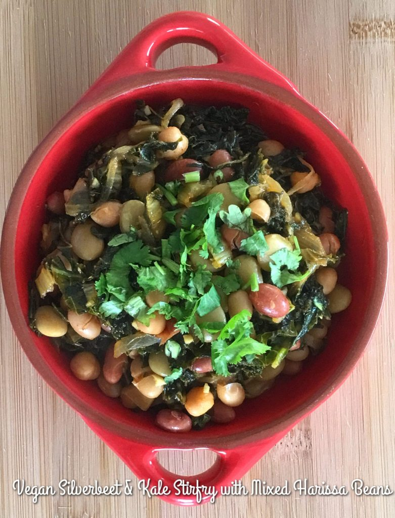 Vegan Silverbeet & Kale Stirfry with Harissa Mixed Beans