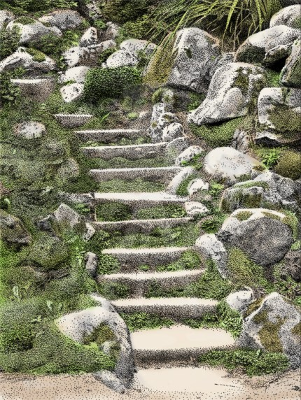 Steps in the Japanese Gardens at Powerscourt, Ireland - Color