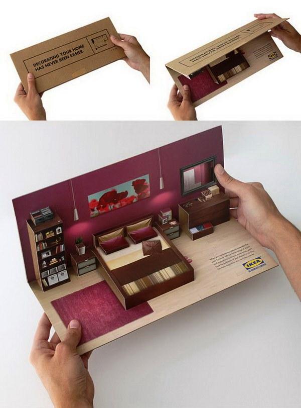 Contoh Desain Brosur Pop Up 3D Kreatif Atraktif - Desain Brosur Pop Up - Ikea Flat Pack Direct Mailer