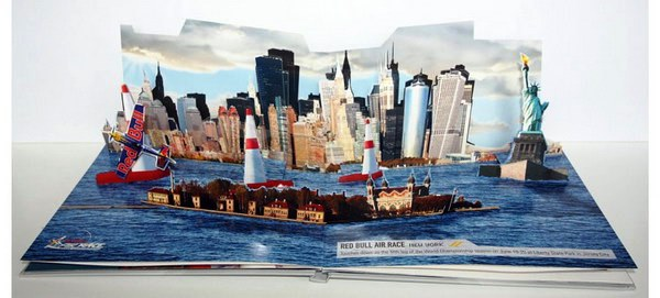 Contoh Desain Brosur Pop Up 3D Kreatif Atraktif - Desain Brosur Pop Up - Red Bull New York 2010 Air Race