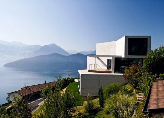 Tips Merenovasi Rumah Menjadi Type Minimalis - Architecturally-striking-concrete-home-with-views-of-the-swiss-alps