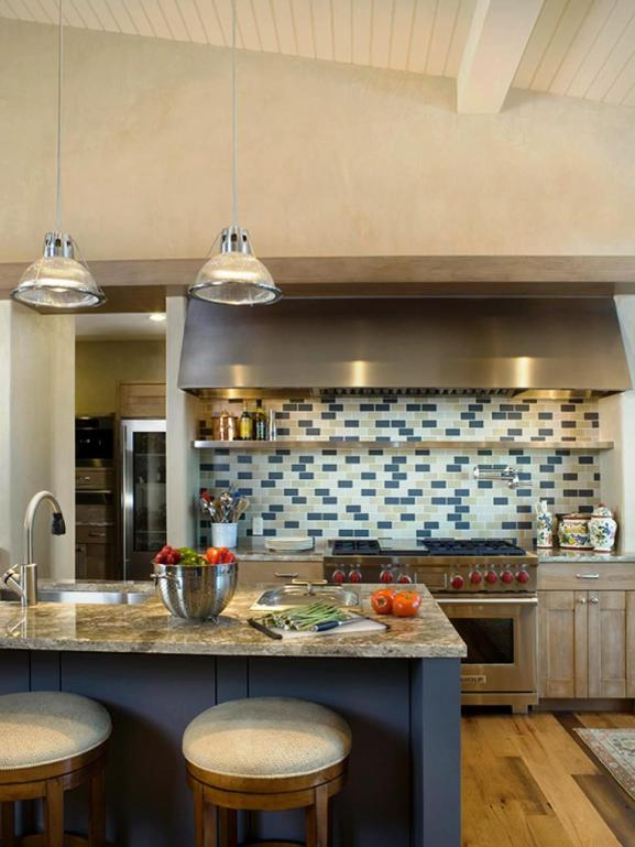 Menentukan Warna Cat Dapur Rumah - CI Slifer Design contemporary kitchen blue backsplash