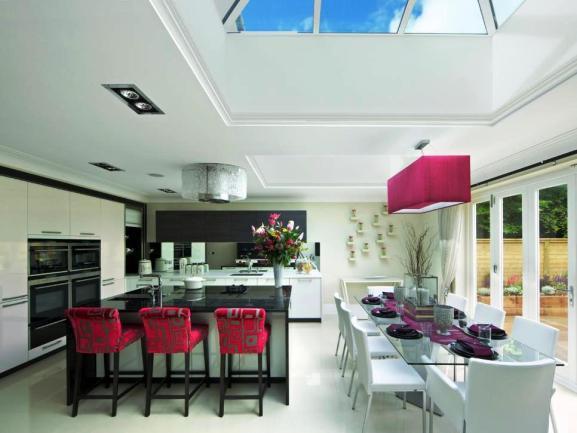 Menentukan Warna Cat Dapur Rumah - ultra-modern-white-pink-kitchen-design