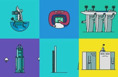 Karakter Animasi Gedung Ikon Dunia