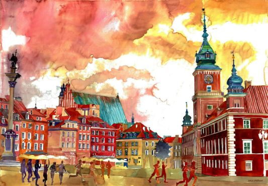 Lukisan cat air arsitektur kota kota dunia
