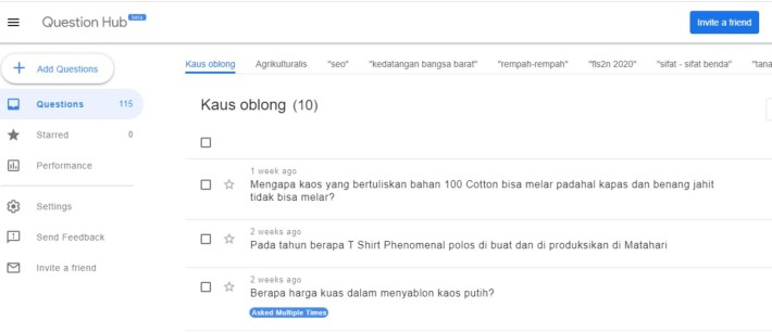 cara menggunakan questions hub