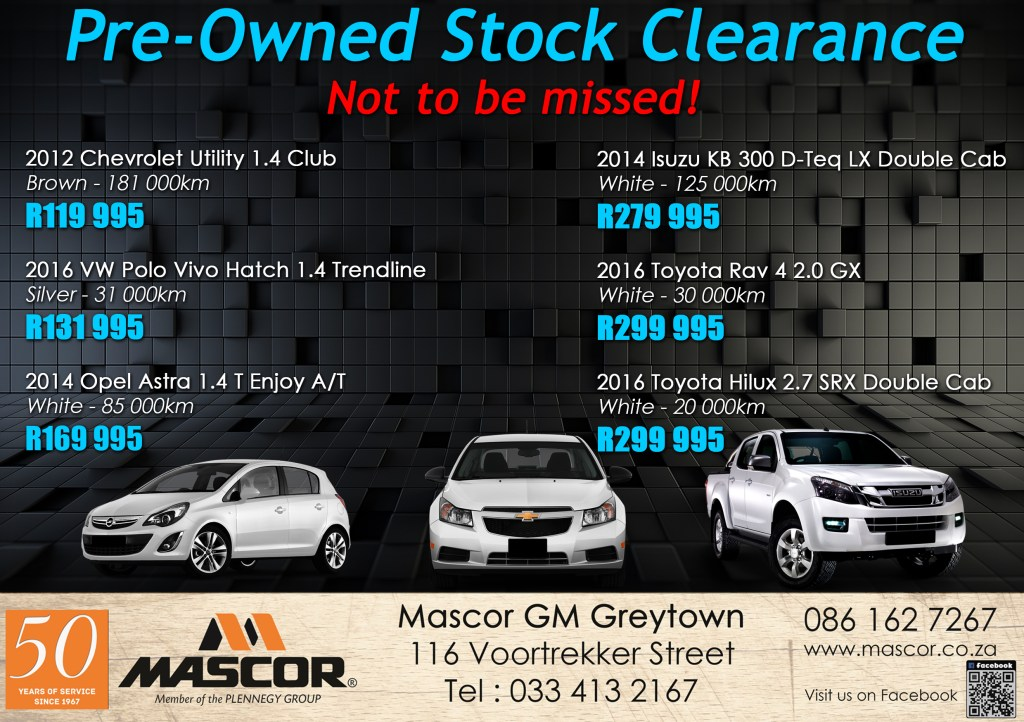 Not to be missed Pre-Owned Vehicle Clearance Sale