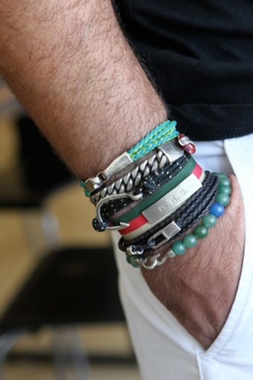 men's stacked bracelets