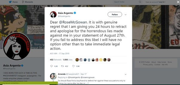MeToo Asia Argento threatening her friend after threatening the minor she raped