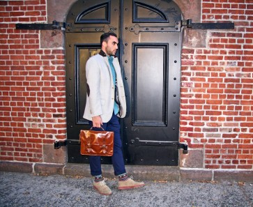 Blazer - Luigi Bianchi, Button Down Shirt - Topman, Pants - Zara, Socks- Gift from sister, Shoes - Cole-Haan, Briefcase - Topman