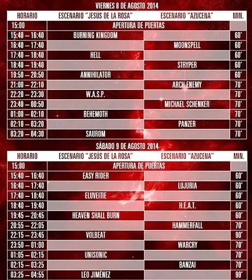 horarios leyendas del rock 2014 principales