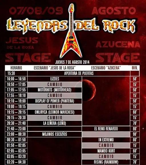 horarios leyendas del rock 2014 versiones