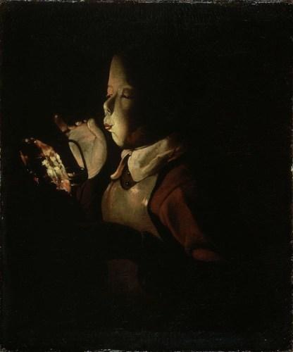 Georges de La Tour, Giovane che soffia su un tizzone, 1640 ca. Musée des Beaux‐Arts, Digione, Francia