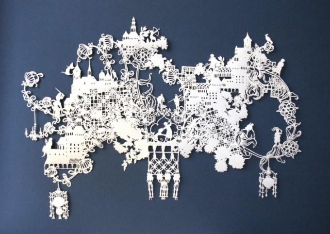 Kertas dipotong membentuk karya yang indah