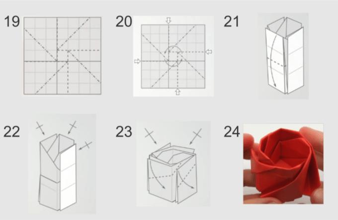Cara membuat origami bunga mawar bagian bunga