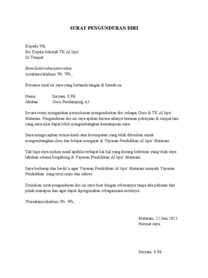 Contoh Surat Pengunduran Diri Guru