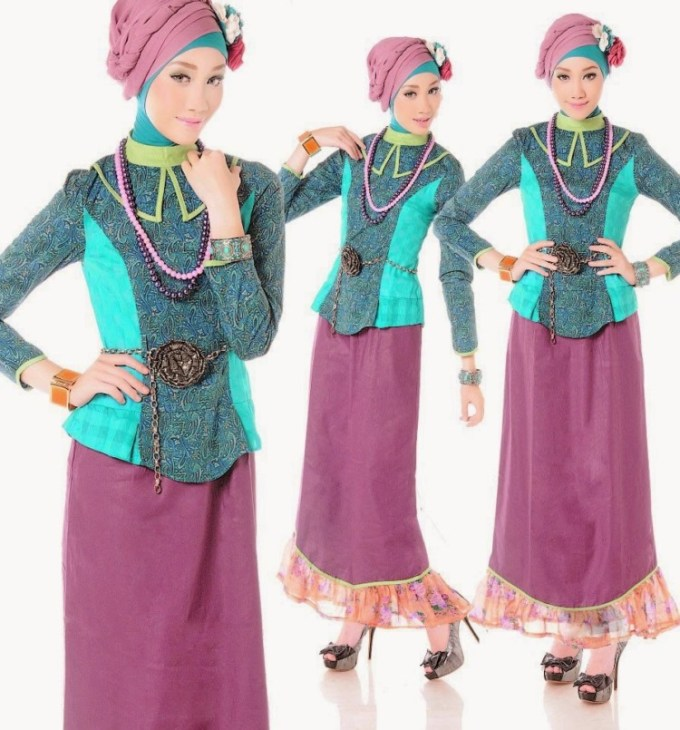 Model Baju Batik Kombinasi Warna Ungu dan Biru
