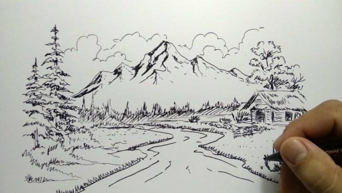 Sketsa pemandangan gunung